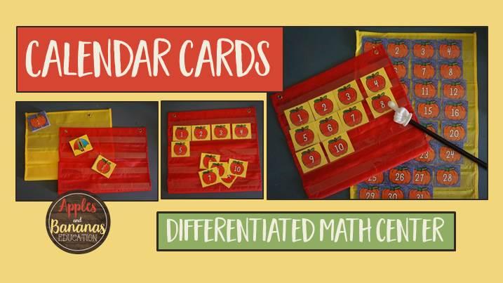 calendar cards math center