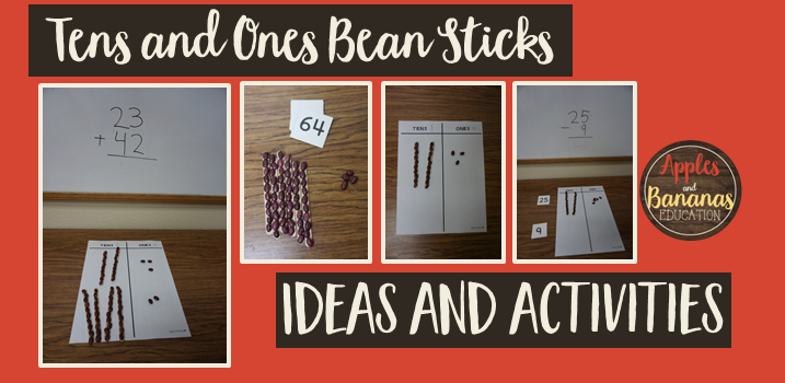 tens and ones bean sticks activities