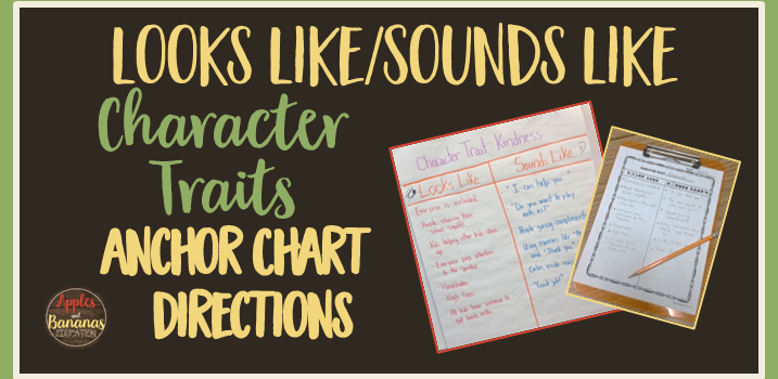 Looks Like, Sounds Like – Character Trait Anchor Chart