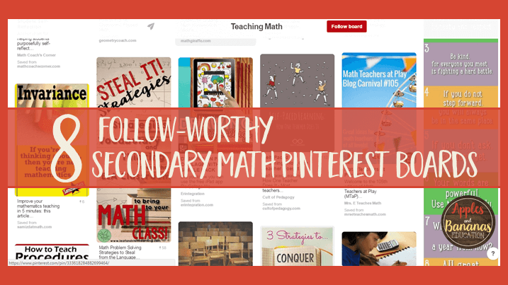 8 Secondary Math Pinterest Boards to Follow