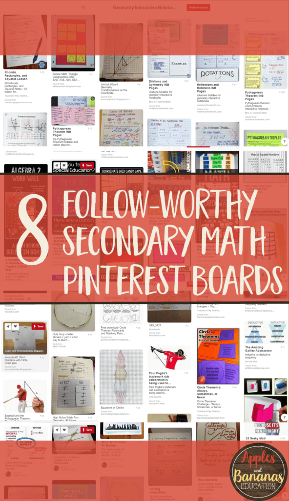 8 Great Secondary Math Pinterest Boards