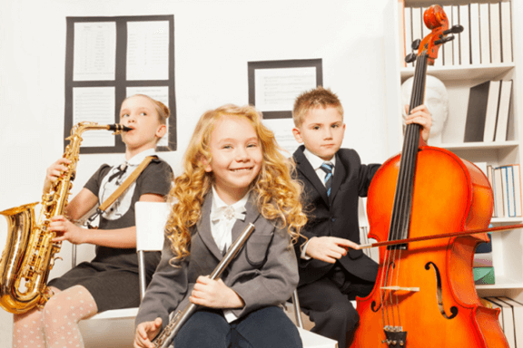 Music kids with instruments