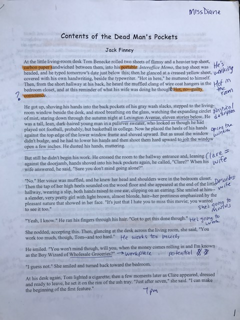 Short Story Annotation Example