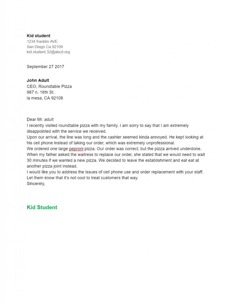 letter of complaints sample