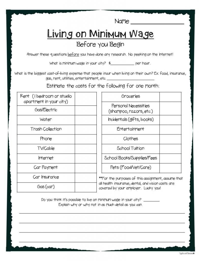Living on Minimum Wage graphic organizer
