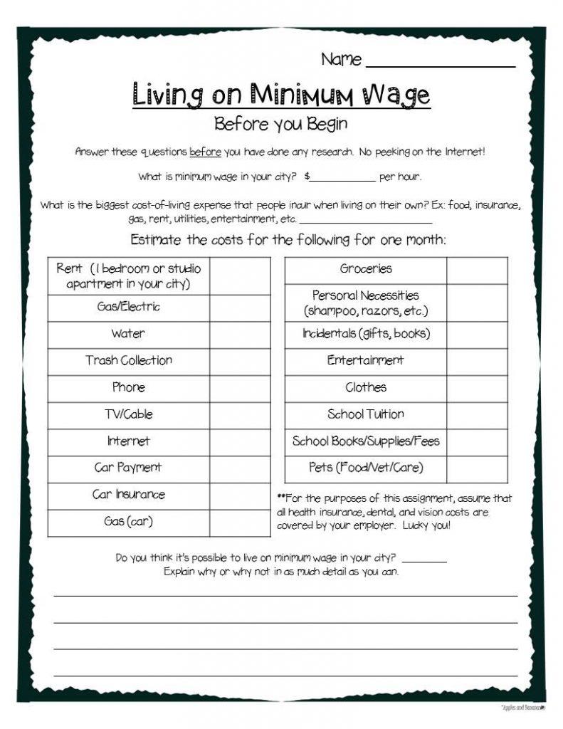 Living on Minimum Wage graphic organizer