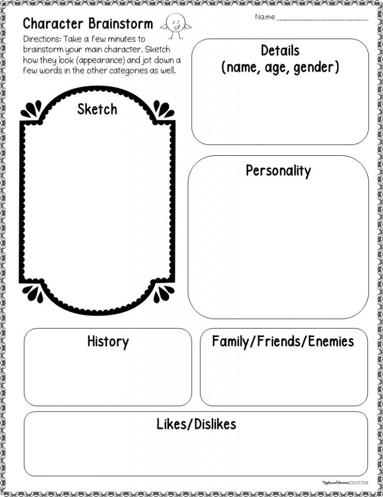 Graphic organizer for students to brainstorm basic details about their main character