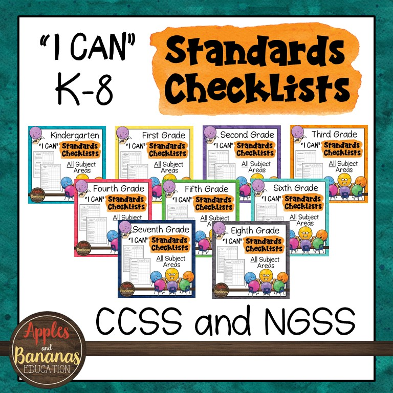 cover of K-8 standards checklist product showing small thumbnail of each individual product