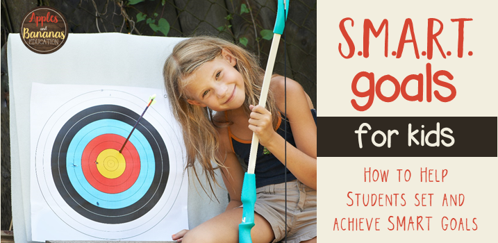 girl in front of bullseye and cover of SMART goals for kids blog post cover
