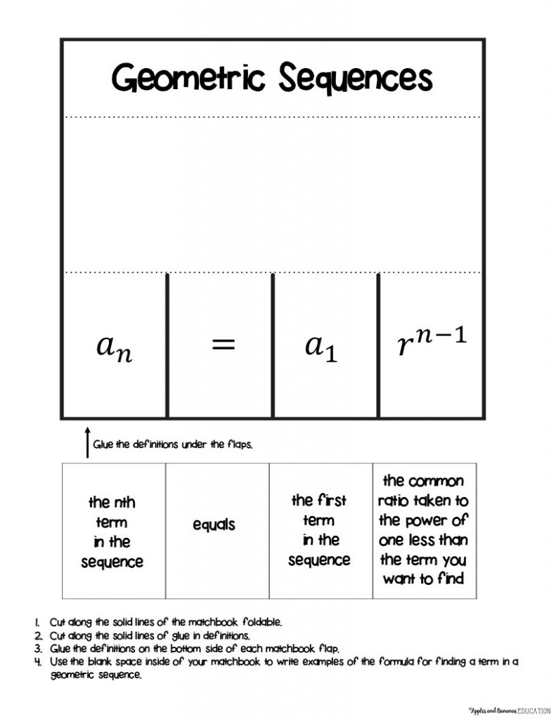 geometric sequences interactive notebook activity