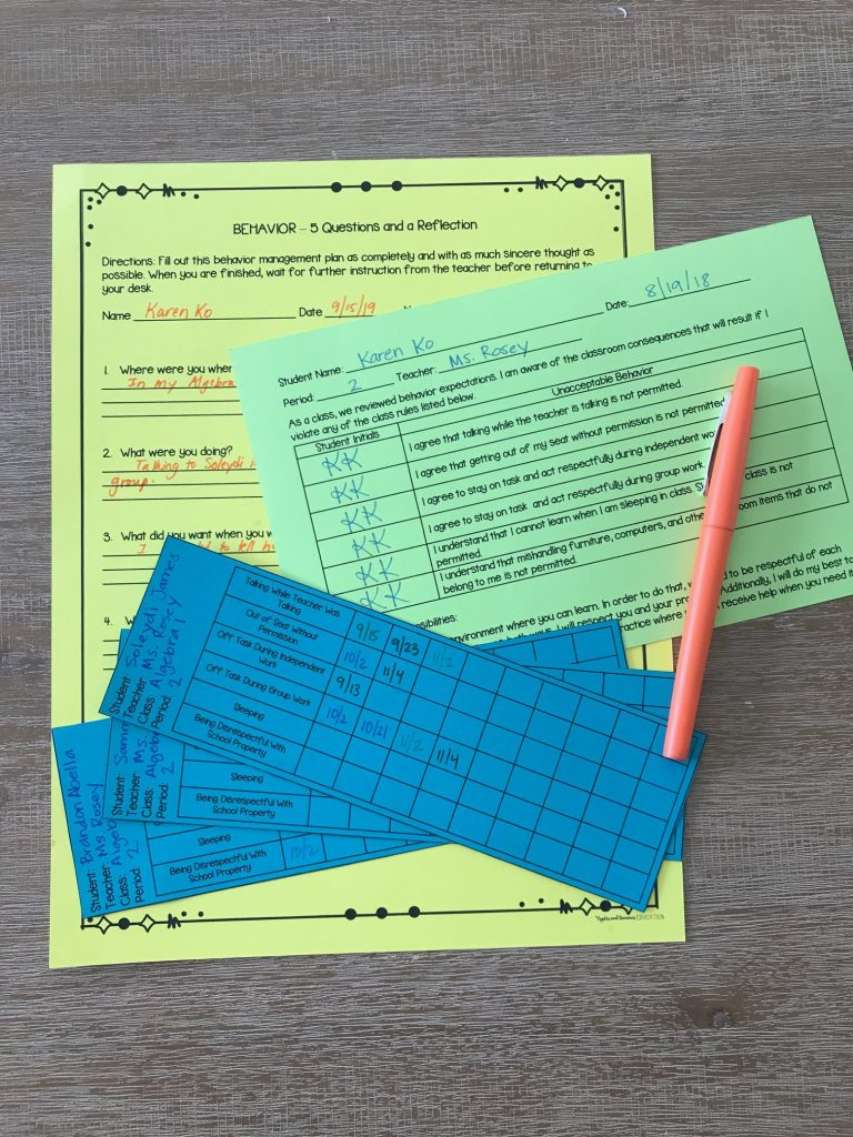 Three classroom management forms