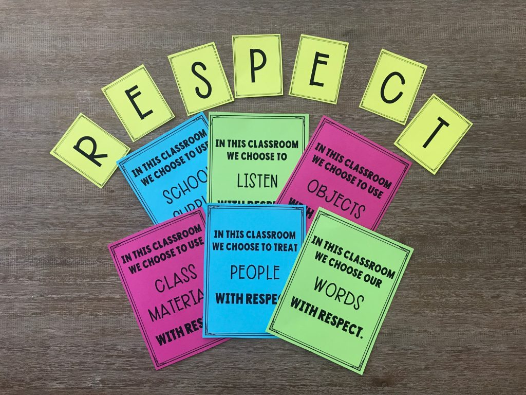 close up of respect posters for classroom