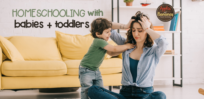 Mom looking stressed out with toddler