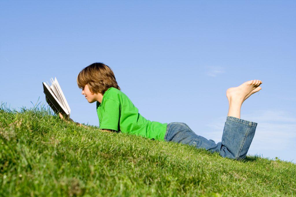 Boy reading book on grassy hill