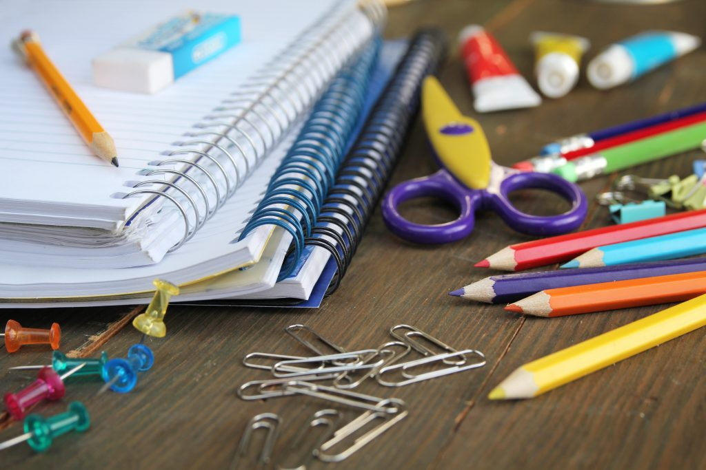 a variety of school supplies