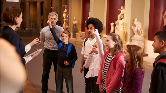 Kids touring a museum