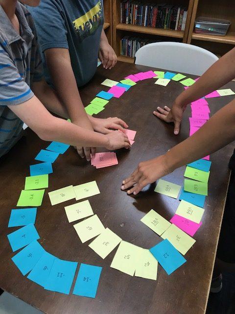 math manipulative activity using number cards